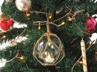 LED Lighted Clear Japanese Glass Ball Fishing Float with Brown Netting Christmas Tree Ornament 3