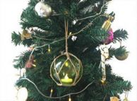 LED Lighted Green Japanese Glass Ball Fishing Float with Brown Netting Christmas Tree Ornament 4\