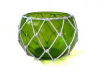 Green Japanese Glass Fishing Float Bowl with Decorative White Fish Netting 8\