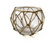 Clear Japanese Glass Fishing Float Bowl with Decorative Brown Fish Netting 6\