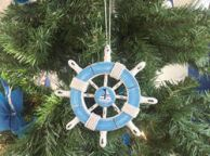 Rustic Light Blue and White Decorative Ship Wheel With Sailboat Christmas Tree Ornament 6