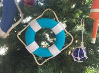 Vibrant Light Blue Decorative Lifering With White Bands Christmas Ornament 6