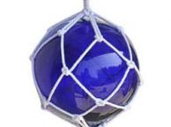 Blue Japanese Glass Ball Fishing Float With White Netting Decoration 12\