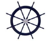 Deluxe Class Dark Blue Wood and Chrome Decorative Ship Steering Wheel 48\