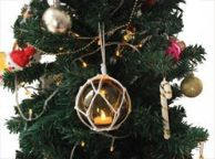 LED Lighted Amber Japanese Glass Ball Fishing Float with White Netting Christmas Tree Ornament 3