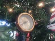 Antique Brass RMS Titanic White Star Pocket Compass Christmas Ornament 3