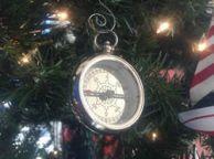 Chrome RMS Titanic White Star Pocket Compass Christmas Ornament 3