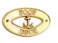 Brass Poop Deck Oval Sign with Anchor 8