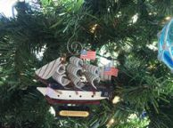 Wooden USS Constitution Tall Model Ship Christmas Ornament 4\