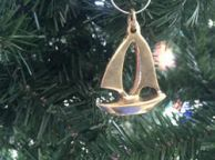 Solid Brass Sailboat Christmas Ornament 4