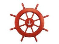 Red Decorative Ship Wheel With Anchor 24