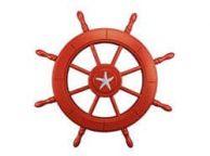 Red Decorative Ship Wheel With Starfish 24