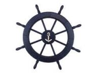 Wooden Rustic All Dark Blue Decorative Ship Wheel With Anchor 30