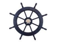 Wooden Rustic All Dark Blue Decorative Ship Wheel With Seashell 30\