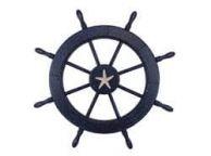 Wooden Rustic All Dark Blue Decorative Ship Wheel With Starfish 30