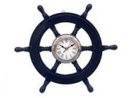 Deluxe Class Dark Blue Wood and Chrome Pirate Ship Wheel Clock 18\