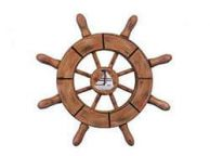 Rustic Wood Finish Decorative Ship Wheel With Sailboat 6