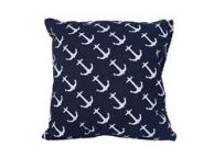 Decorative Blue Pillow with White Anchors Nautical Pillow 16\
