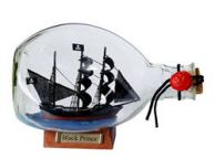 Ben Franklin\'s Black Prince Pirate Ship in a Glass Bottle 7\