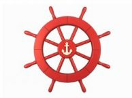Red Ship Decorative Wheel with Anchor 18\