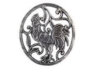 Rustic Silver Cast Iron Rooster Trivet 8