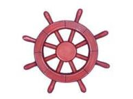 Rustic All Red Decorative Ship Wheel 12\
