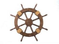 Rustic Wood Finish Decorative Ship Wheel 18\