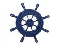 Rustic All Dark Blue Decorative Ship Wheel 9