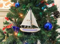 Wooden Blue Sailboat Christmas Tree Ornament 9