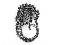 Antique Silver Cast Iron Seahorse Trivet 6