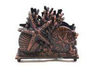 Rustic Copper Cast Iron Seashell Napkin Holder 7