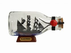 Ben Franklin\'s Black Prince Pirate Ship in a Glass Bottle 5\
