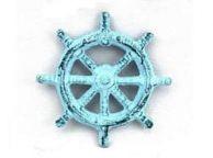 Dark Blue Whitewashed Cast Iron Ship Wheel Bottle Opener 3.75\