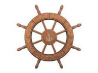 Rustic Wood Finish Decorative Ship Wheel With Anchor 24