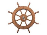 Rustic Wood Finish Decorative Ship Wheel With Seagull 24\