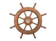 Rustic Wood Finish Decorative Ship Wheel With Seashell 24