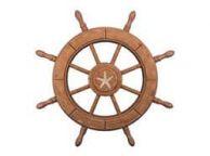 Rustic Wood Finish Decorative Ship Wheel With Starfish 24\