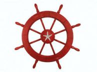 Wooden Rustic Red Decorative Ship Wheel With Starfish 30\