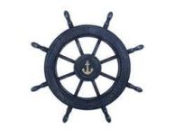 Rustic All Dark Blue Decorative Ship Wheel With Anchor 24\
