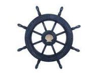 Rustic All Dark Blue Decorative Ship Wheel With Seashell 24