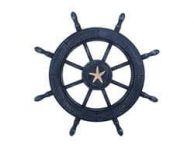 Rustic All Dark Blue Decorative Ship Wheel With Starfish 24
