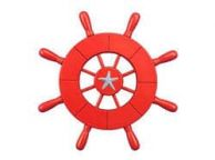 Red Decorative Ship Wheel With Starfish 9