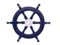 Deluxe Class Dark Blue Wood and Chrome Decorative Ship Steering Wheel 12\