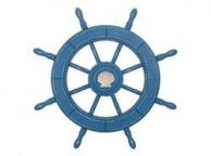 Rustic All Light Blue Decorative Ship Wheel With Seashell 24\