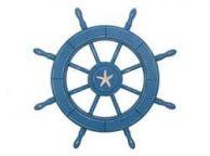 Rustic All Light Blue Decorative Ship Wheel With Starfish 24