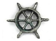 Antique Silver Cast Iron Ship Wheel Decorative Paperweight 4