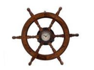 Deluxe Class Wood and Antique Copper Ship Stering Wheel Clock 24