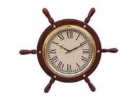 Solid Wood & Brass Ship Wheel Clock 15\