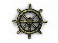 Antique Gold Cast Iron Ship Wheel Bottle Opener 3.75\