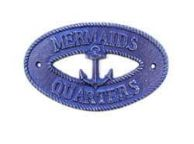 Rustic Dark Blue Cast Iron Mermaids Quarters with Anchor Sign 8